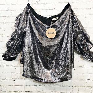 Essue silver sequin strapless blouse size M